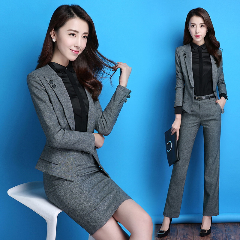 White-collar women's dress temperament suit women's professional suit skirt body suit interview is dressed front desk work dress female autumn