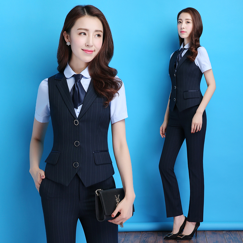 Summer Career Suit Women's Temperament Interview Is Dressed In Striped Vest Workwear Flight Attendant Uniform Career Suit