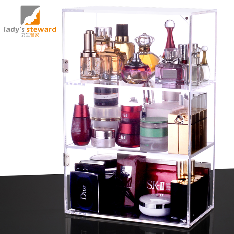 Transparent Acrylic Cosmetics Skin Care Cosmetics Perfume Racks Heightening  Three Door Finishing Storage Box