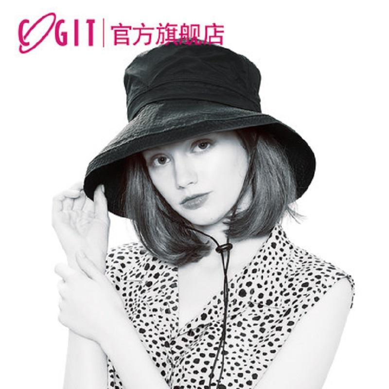 日本COGIT原裝進口UV防水透氣防曬漁夫帽女夏遮臉帽子遮陽防風繩