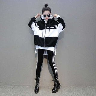 Casual fashion suit pants European station women's spring 2021 new European goods tide Korean style sweater three-piece suit