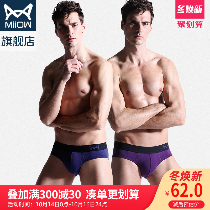 Cat 40 combed cotton seamless triangle men's underwear thin section sexy tide breathable youth pants trousers