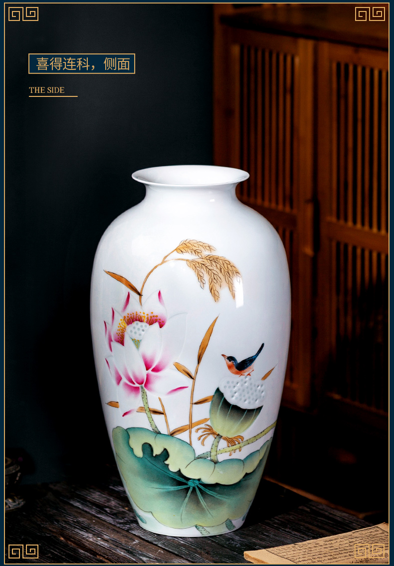 Jingdezhen ceramic vase penjing masters of new Chinese style rich ancient frame hand - made thin foetus household the sitting room porch decoration