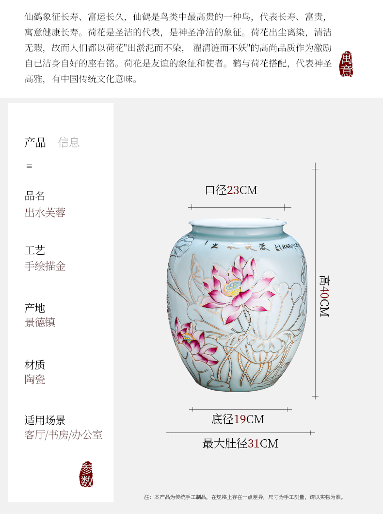Jingdezhen ceramics of large vase furnishing articles flower arranging hand - made paint Chinese rich ancient frame decoration large living room