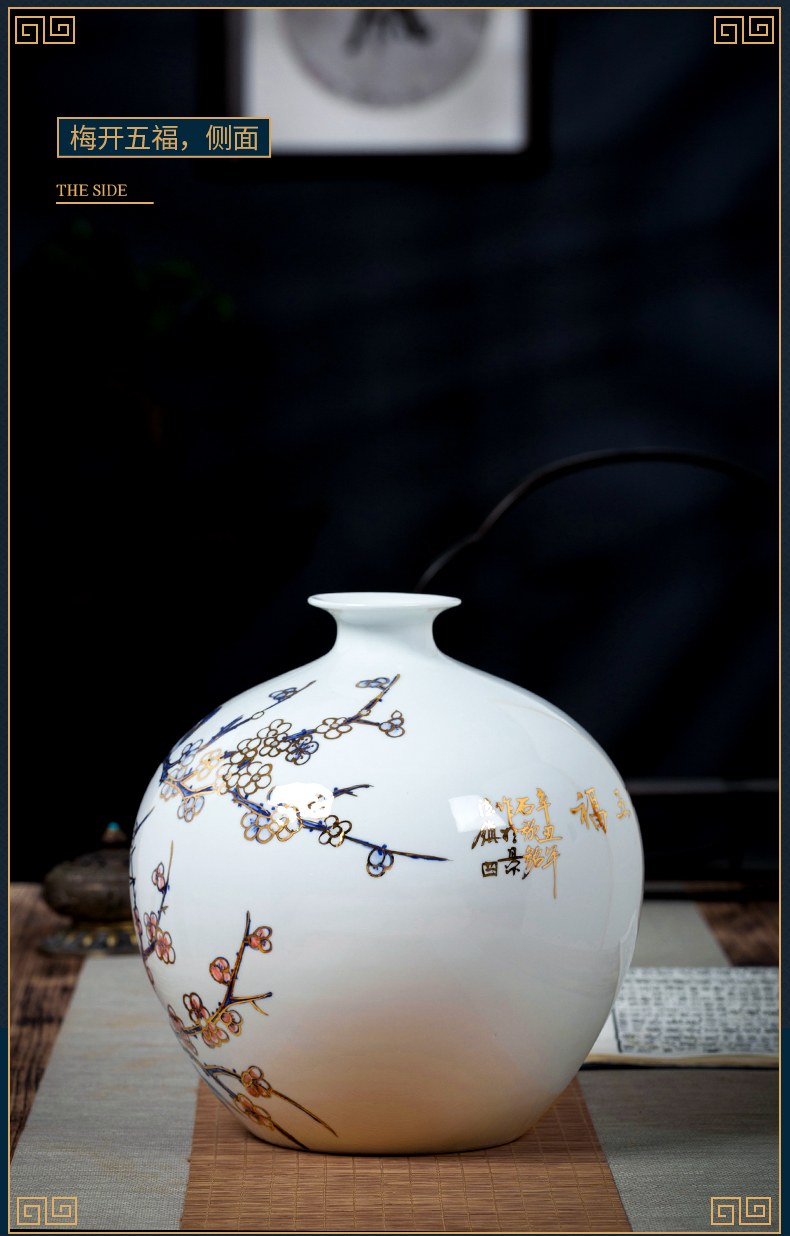 Jingdezhen ceramic vase light key-2 luxury furnishing articles by hand - made paint the living room of Chinese style household rich ancient frame porch decoration