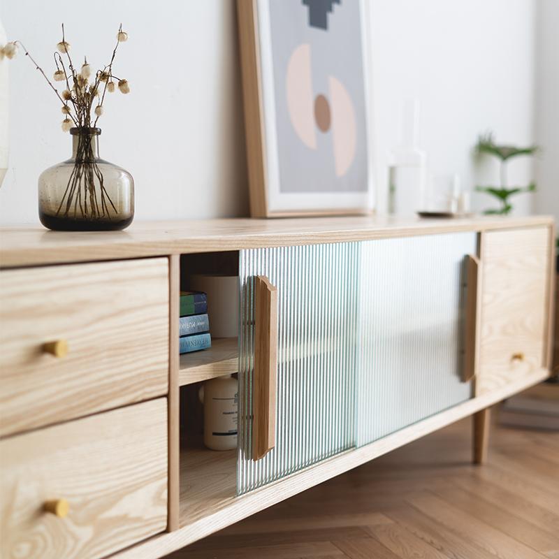 北欧日式客厅家具户型电视柜机柜木全实木现代简约小白蜡电视茶几
