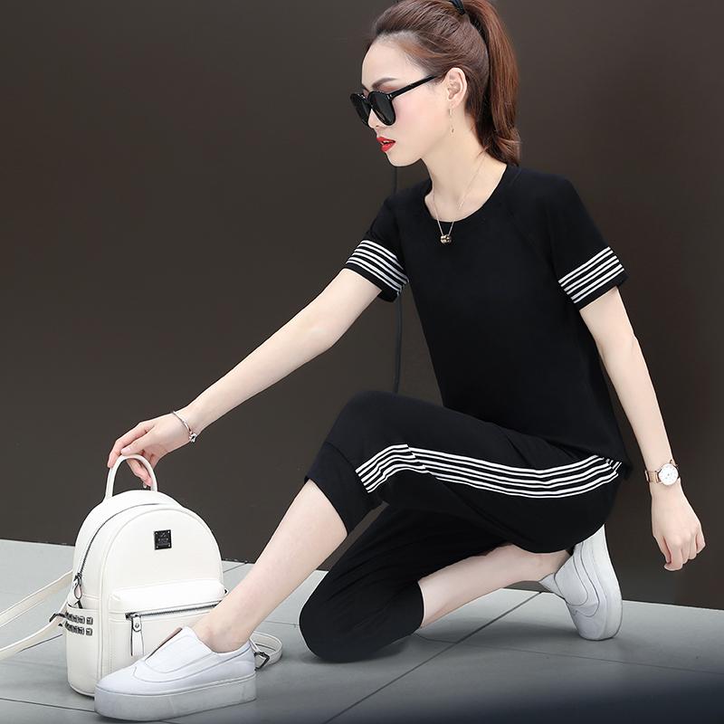 时尚拼接休闲套装2020夏新款韩版女士纯棉短袖圆领体恤大码两件套