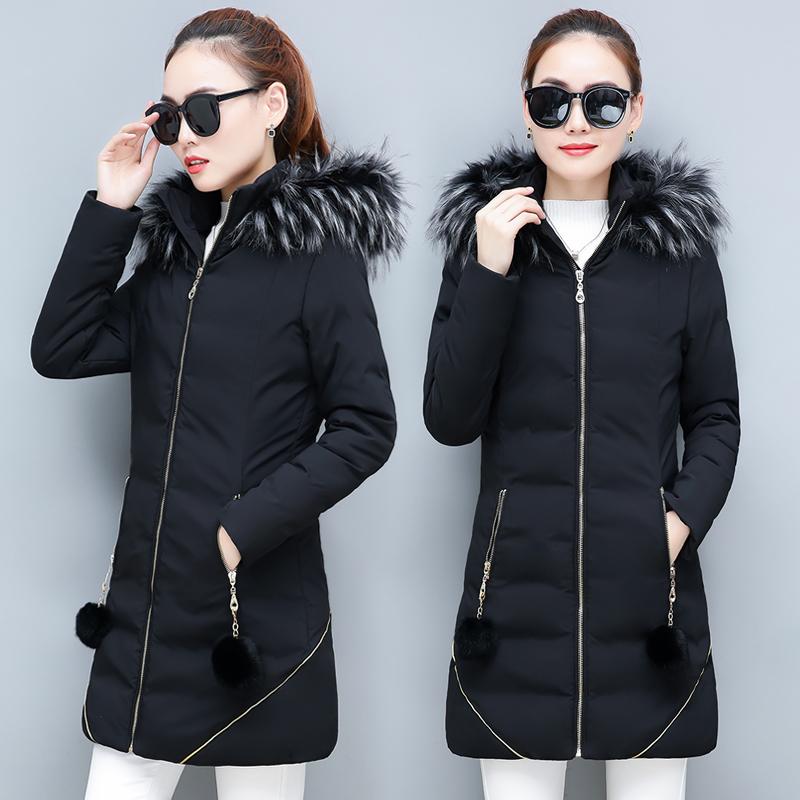女士中长款棉衣冬季外套加厚羽绒服冬装上衣