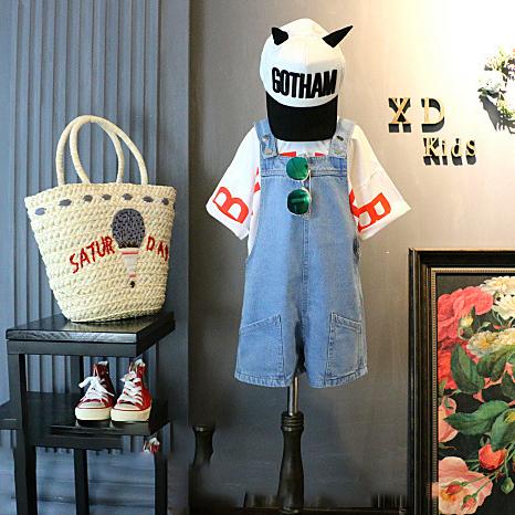 2019韩版新款童装儿童字母打底衫t恤+牛仔背带裤儿童休闲两件套装