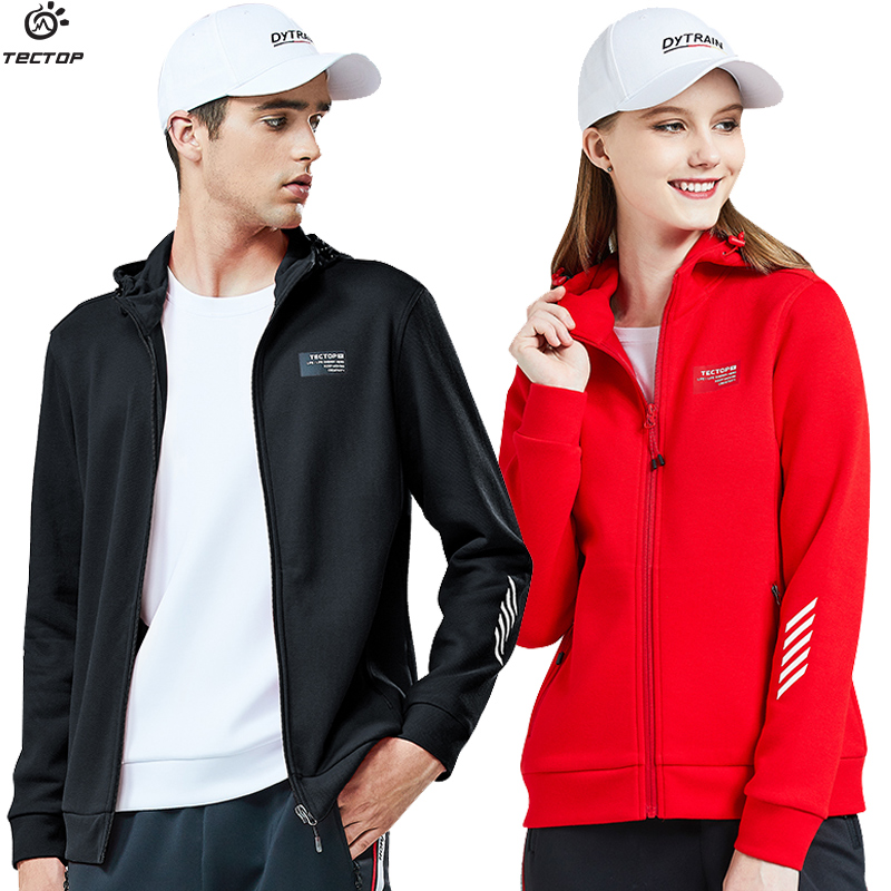 TECTOP spring and autumn new outdoor couple sports fashion men and women hooded sweatshirt loose cardigan coat