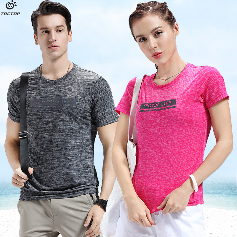 TECTOP outdoor summer thin stretch quick-drying men's and women's short-sleeved quick-drying t-shirt loose breathable sports