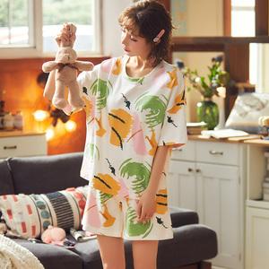 睡衣女纯棉春夏季短袖短裤2020新款少女韩版可外穿家居服套装女款