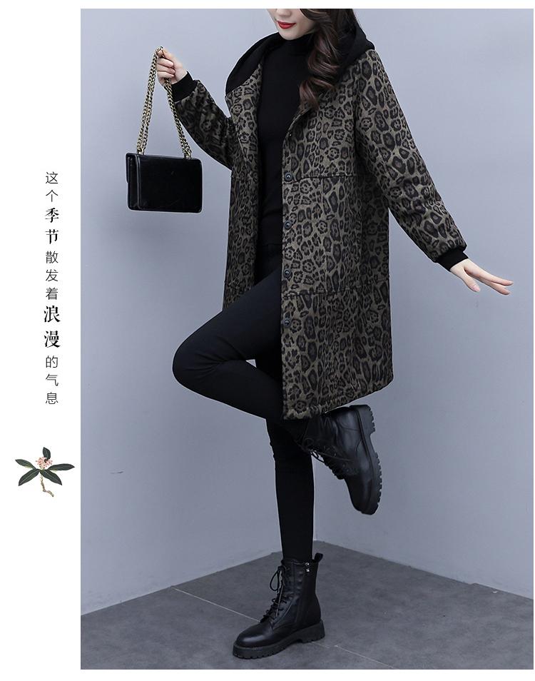 Autumn and winter leopard print windcoat women 2020 new medium-length small temperament thin plus velvet thick coat girl 63 Online shopping Bangladesh