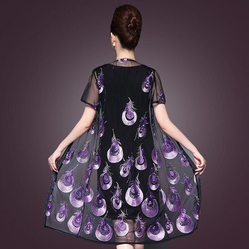 妈妈装连衣裙夏装刺绣两件套2018新款中年套裙气质中老年大码女装