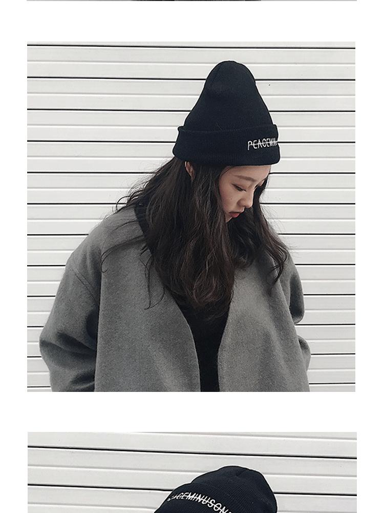 帽子女秋冬韩版百搭护耳毛线帽冬季学生针织帽保暖刺绣潮冬天详细照片