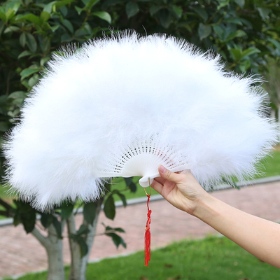 Dance Fan Feather Fan Walking Show Cheongsam Performing Adult Children's Pure White Chinese Wind Classical Peacock Dance