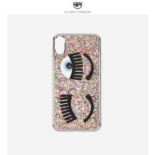 Chiara Ferragni embroidery big eyes sequins apple mobile phone case iPhone X / XS soft protective cover