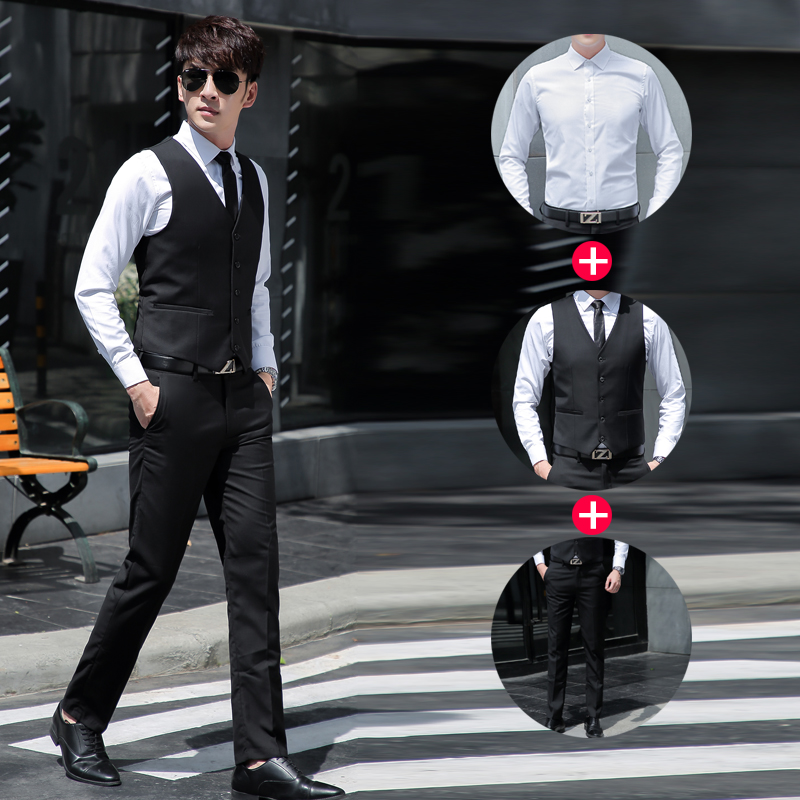 Men's vest professional suit trousers three-piece spring and