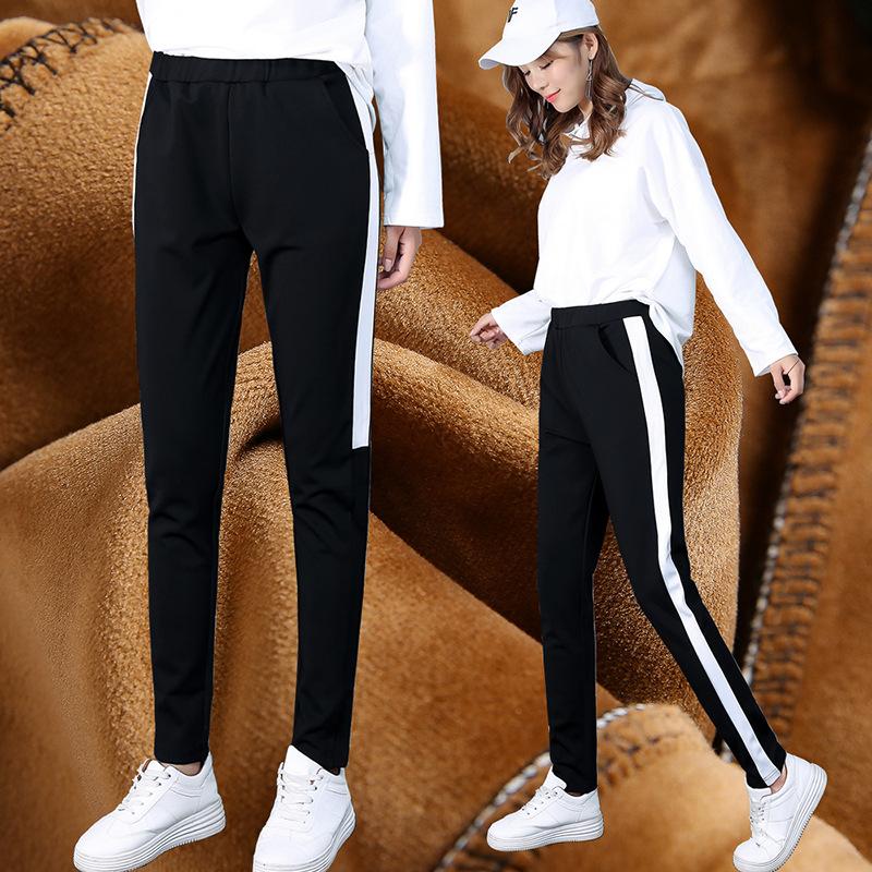 冬季韩版女裤银边条哈伦裤金丝绒系带时尚加绒运动休闲长裤精品女