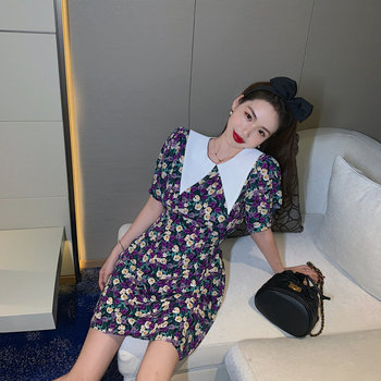 Fashionability is popular this year! Retro sense French sweet baby collar purple floral dress female summer