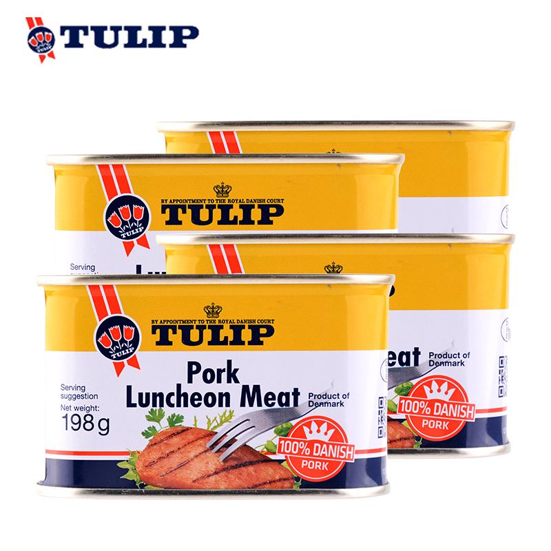 丹麦皇家认证 198gx4罐 Tulip郁金香 午餐肉 券后49.8元包邮
