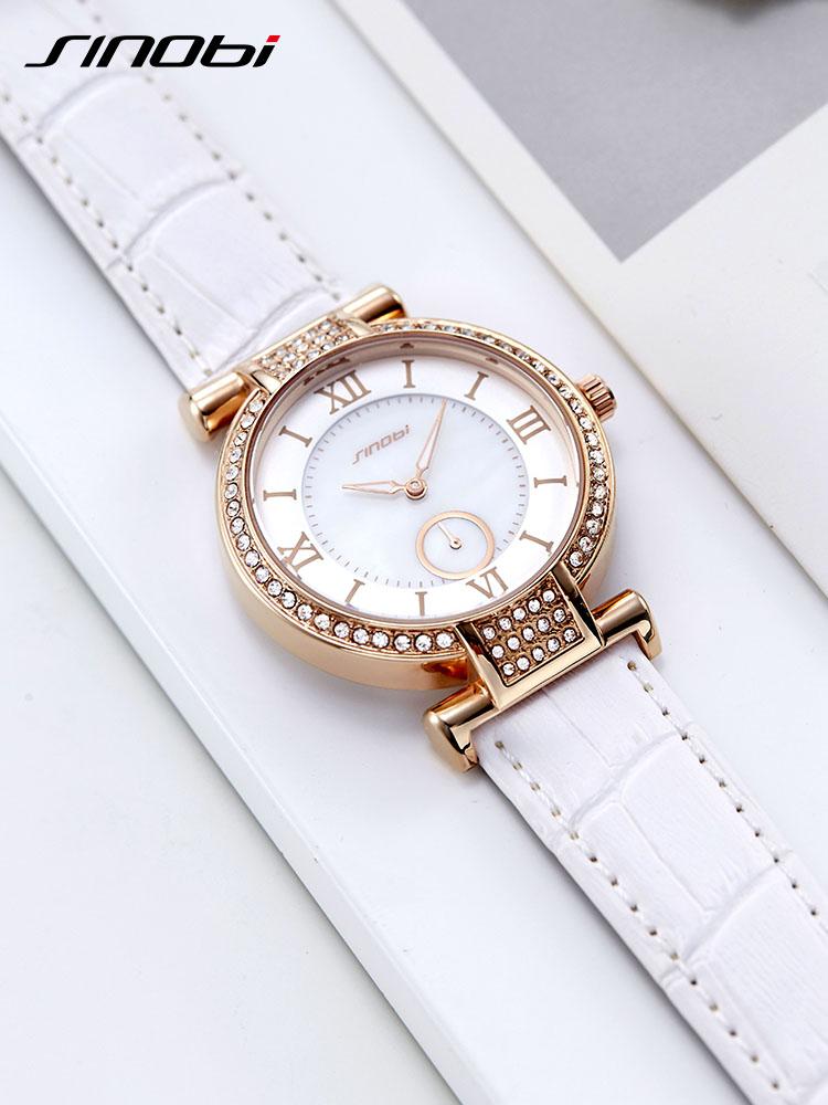 时诺比抖音网红新款女手表潮流水钻皮带手腕表女学生石英手表