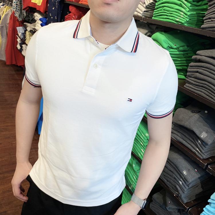 TOMMY HILFIGER 男士夏季纯色修身商务经典款速干透气短袖polo衫