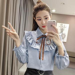 翻领蝴蝶结系带上衣显瘦条纹喇叭长袖衬衫