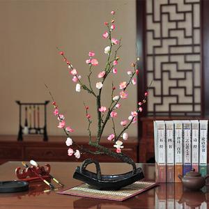 新中式梅花仿真花套装腊梅根雕假花摆件家居客厅书房玄关花艺摆设