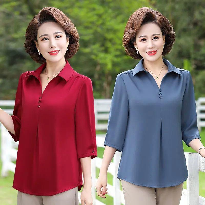 中老年女装春装2021新款七袖上衣妈妈夏装40岁50中年小衫洋气衬衫