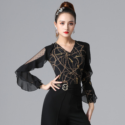 Ballroom latin dance bodysuits for women Gitpa top women V-neck national standard dance one piece Latin dress with ruffle sleeves elastic chacha