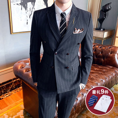 Suit male set groom marriage double buckle British three-piece set of Korean version of the tide sighter casual striped dress