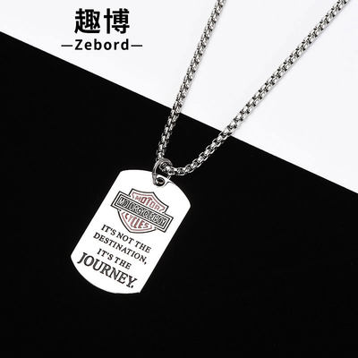 Necklace men's tide male Korean version of simple student titanium steel hip hop hawat personality wild HIPHOP net red pendant