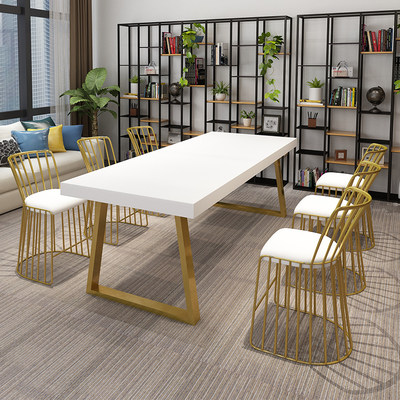 Nordic Loft Solid Wood Conference Table Simple Contemporary Creative Office Desk Working Table Necklace negotiation table and chair combination
