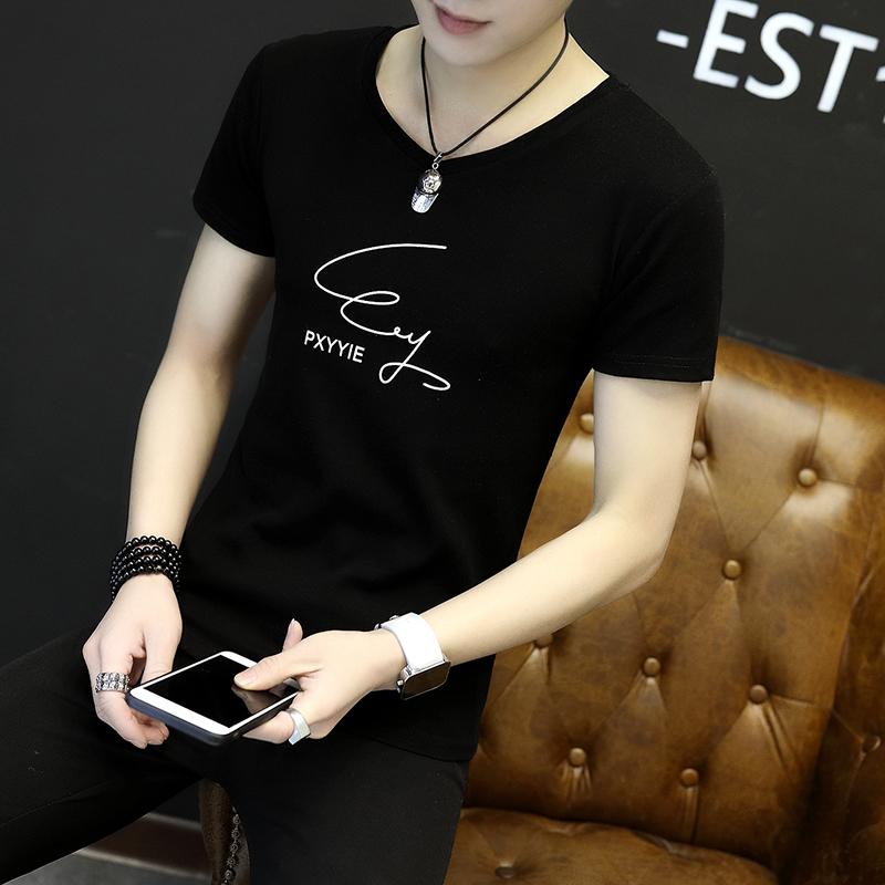 Короткий рукав t футболки мужской 2018 новый лето волна облегающий, южнокорейская версия свитер молодежь студент с коротким рукавом куртка одежда