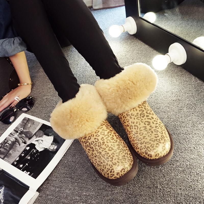2019冬季新款真皮靴豹纹筒学生加厚加绒绒面防水百搭雪地棉鞋女中