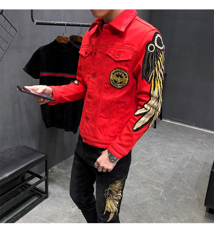 加绒保暖牛仔夹克外套个性翅膀刺绣夹克 Q65-常规P105-加绒P120