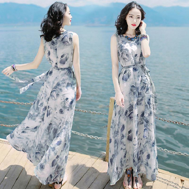 Váy mùa hè mới của phụ nữ Váy không tay mỏng Váy voan dài Beach Beach Beach Holiday Beach - Váy dài