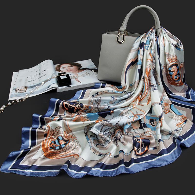 丝巾大方巾潮牌街头正方形丝巾女配饰脖子披肩丝巾女秋款洋气时尚