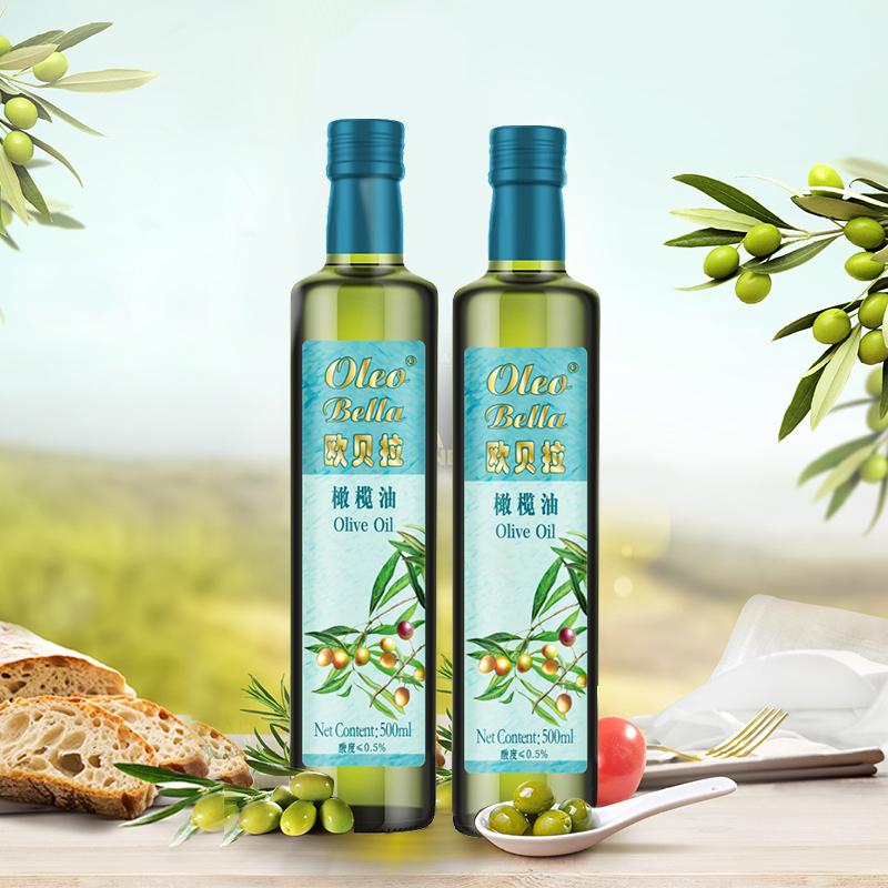 优质非转基因原料欧贝拉纯正橄榄油500ml*2营养丰富