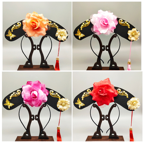 Qi tou Qing Dynasty gege headdress palace children's performance ancient costume modeling lattice hat headband national style flag hat accessories