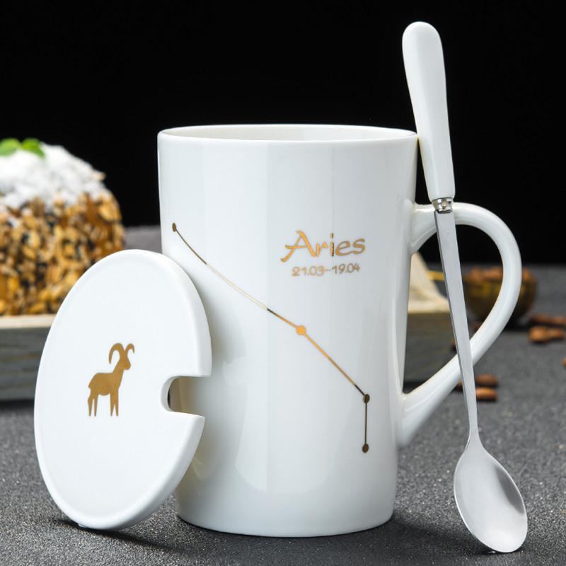 马克杯陶瓷杯子带盖咖啡杯家用情侣水杯男生大容量茶杯女夏办公室