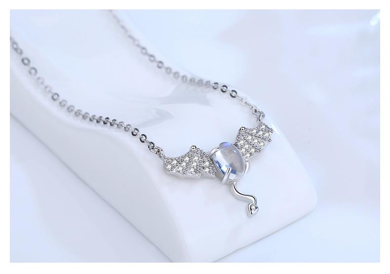 S925純銀短款項鏈女士日韓月光石小惡魔吊墜簡約鎖骨鏈送女友飾品