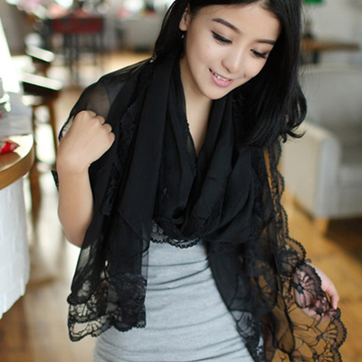 Summer lace scarf women autumn and winter all-match thin gauze shawl hollow lace black sunscreen long silk scarf