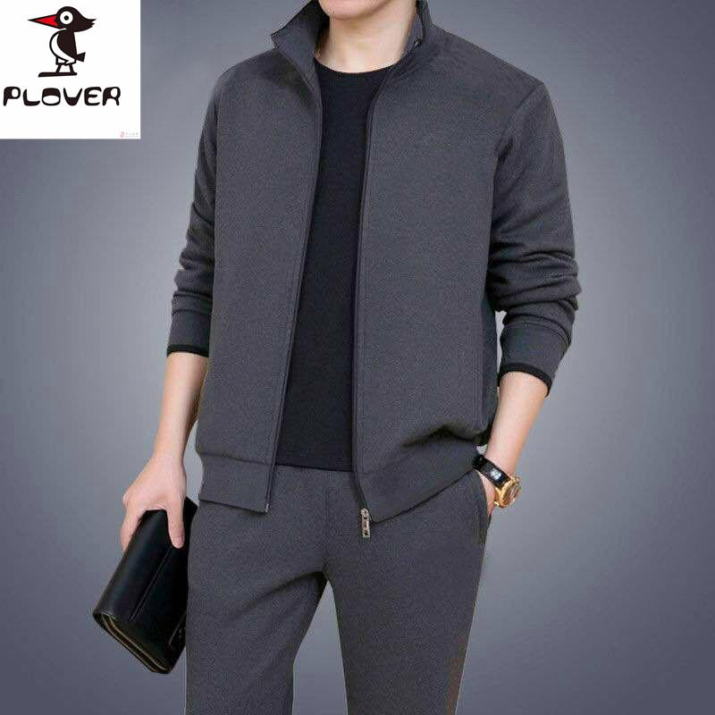 啄木鸟秋季新款运动套装男休闲跑步运动服装大码宽松卫衣两件套潮