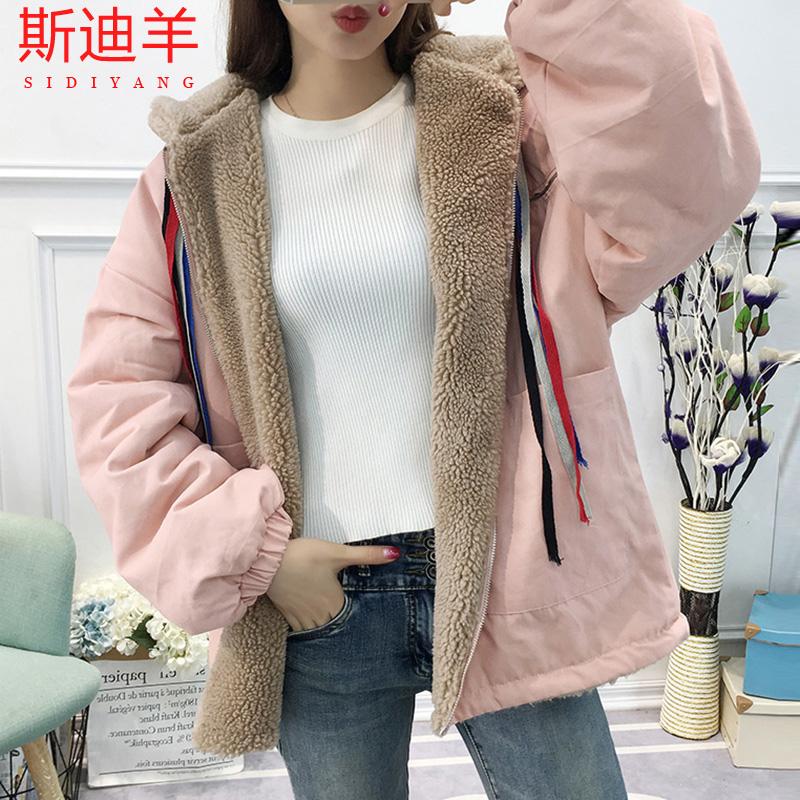 棉衣2019秋冬季羊羔毛风衣少女韩版棉服外套中长款学生加厚高中潮