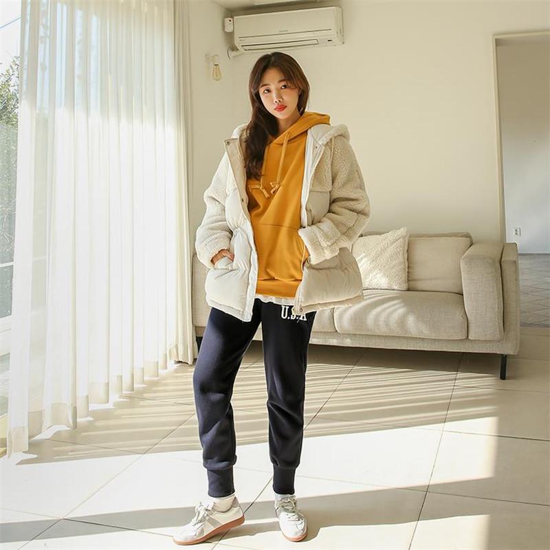 韩国代购秋冬保暖拼接羽绒棉服收腰中长款面包服女连帽拦链外套