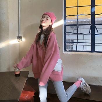 Пряжки для ремней,  Свитер женщины с длинными рукавами 2020 метров весна , осень, зима сезон свободный корейский свитер свитер пиджак кардиган пальто, цена 1843 руб
