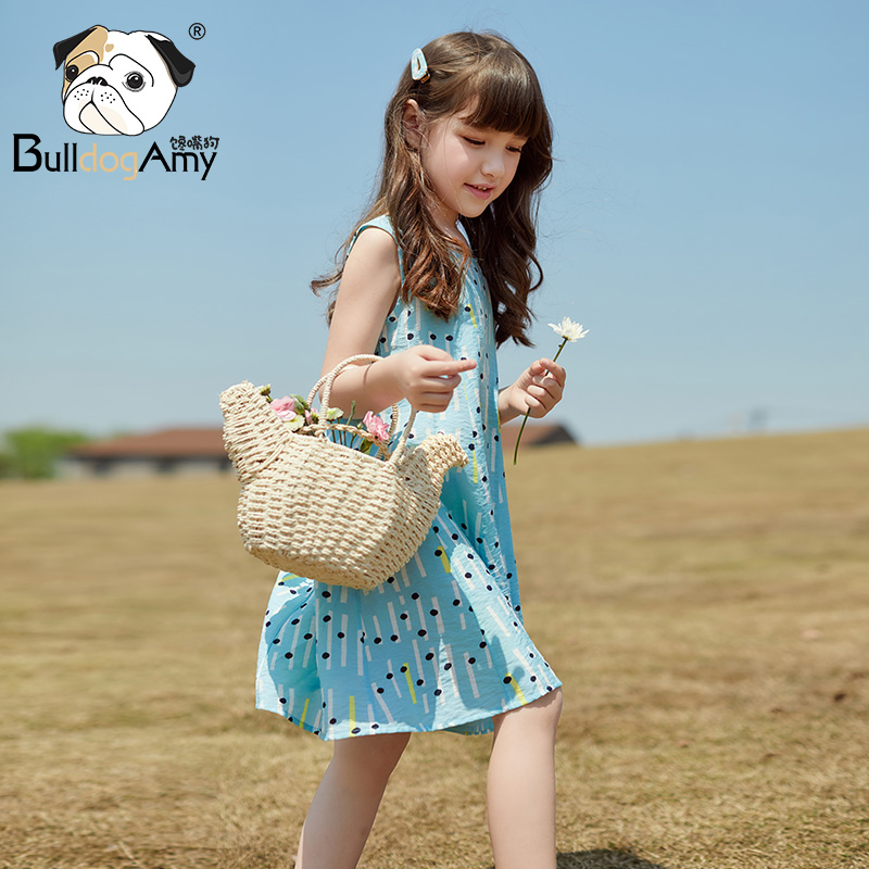 Girls dress 2019 summer new children's clothing daughter child skirt little girl sleeveless wave point printing princess dress