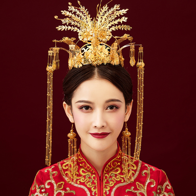 Chinese costume hair accessories Chinese Classical Air Fengguan Xiamen Marriage Ancient Hair Decoration Suit